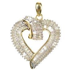 10K 1.15 Ctw Baguette Diamond Encrusted Heart Pendant Yellow Gold [CXQQ]