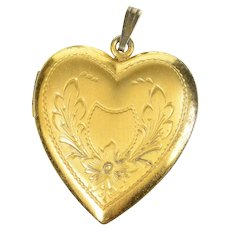 Gold Filled Retro Ornate Floral Etched Heart Photo Locket Pendant  [CXQQ]