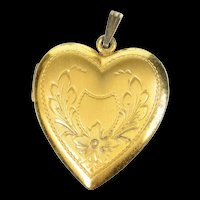 Gold Filled Retro Ornate Floral Etched Heart Photo Locket Pendant  [CXXR]