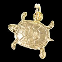 10K Ornate Etched Turtle Tortoise Animal Charm/Pendant Yellow Gold [CXQQ]