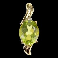10K Pear Peridot Diamond Accent Classic Pendant Yellow Gold [CXQQ]