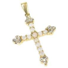 10K Ornate Natural Opal Diamond Cross Christian Pendant Yellow Gold [CXXP]
