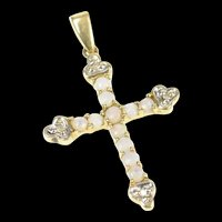 10K Ornate Natural Opal Diamond Cross Christian Pendant Yellow Gold [CXXR]
