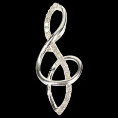 10K Diamond Inset Treble Clef Music Symbol Pendant White Gold [CXQQ]