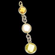 18K David Yurman Faceted Peridot Topaz Citrine Charm/Pendant Yellow Gold [CXQQ]