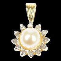 14K Classic Pearl Diamond Halo Statement Pendant Yellow Gold [CXQQ]