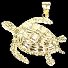 14K 3D Ornate Turtle Tortoise Diamond Cut Animal Pendant Yellow Gold [CXQQ]