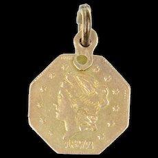 Gold 1874 Half Dollar California Gold Rush Coin Charm/Pendant  [CXQQ]
