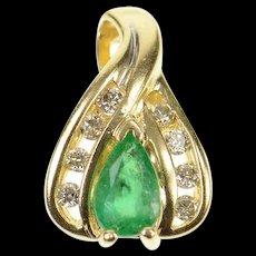 10K Pear Cut Emerald Diamond Halo Statement Pendant Yellow Gold [CXQQ]