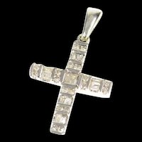 10K Diamond Encrusted Christian Faith Cross Pendant White Gold [CXXR]