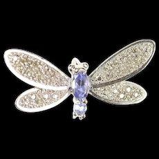 10K Dragonfly Pave Diamond Encrusted Tanzanite Pendant White Gold [CXQQ]