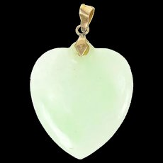 14K Carved Jade Heart Good Luck Harmony Pendant Yellow Gold [CXQQ]