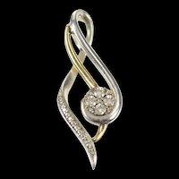 10K Two Tone Diamond Treble Clef Curvy Symbol Pendant Yellow Gold [CXQQ]