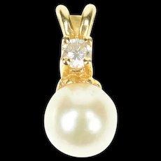 14K Pearl Diamond Accent Classic Statement Pendant Yellow Gold [CXQQ]