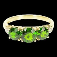 10K Three Stone Green Tourmaline Diamond Accent Ring Size 7 Yellow Gold [CXXP]