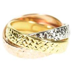 10K Tri Tone Rolling Three Band Statement Ring Size 7.25 Rose Gold [CXQQ]