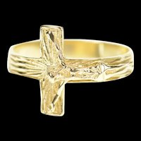 14K Crucifix Cross Christian Faith Jesus Christ Ring Size 7.5 Yellow Gold [CXXP]