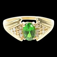 14K Green Tourmaline Diamond Cluster Accent Ring Size 5.75 Yellow Gold [CXQQ]
