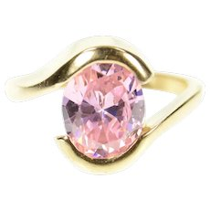 10K Oval Pink Cubic Zirconia Solitaire Bypass Ring Size 6.5 Yellow Gold [CXXR]