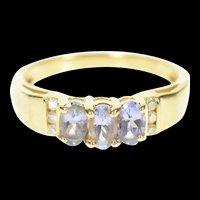 14K Three Stone Tanzanite Diamond Accent Ring Size 6 Yellow Gold [CXXP]