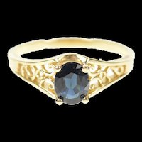 14K Natural Blue Sapphire Scroll Filigree Ring Size 6.5 Yellow Gold [CXQQ]