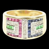 14K Geometric Diamond Ruby Sapphire Emerald Ring Size 6 Yellow Gold [CXXP]