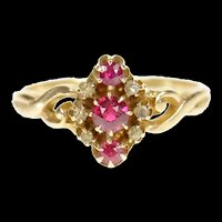 14K Victorian Syn. Ruby Rose Diamond Accent Ring Size 9.5 Yellow Gold [CXQQ]