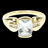 14K Faceted Blue Topaz Diamond Accent Statement Ring Size 7 Yellow Gold [CXQQ]