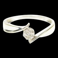 14K Round Flower Diamond Cluster Bypass Ring Size 7 White Gold [CXQQ]
