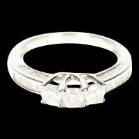10K 1.04 Ctw Three Stone Diamond Engagement Ring Size 6.75 White Gold [CXXP]