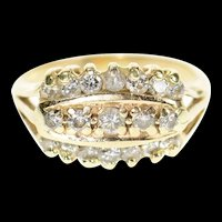 14K Tiered Diamond Inset Statement Band Ring Size 4.25 Yellow Gold [CXXP]