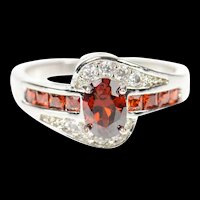 10K Oval Garnet Bypass CZ Accent Statement Ring Size 7.75 White Gold [CXQC]