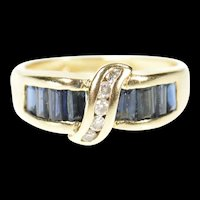 14K Baguette Sapphire Diamond Statement Band Ring Size 6 Yellow Gold [CXXP]