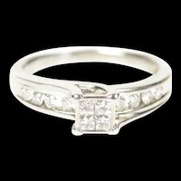14K 0.50 Ctw Princess Diamond Cluster Engagement Ring Size 6 White Gold [CXQC]