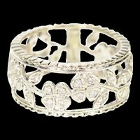 14K 0.40 Ctw Diamond Clover Pattern Wedding Band Ring Size 6.25 White Gold [CXQC]
