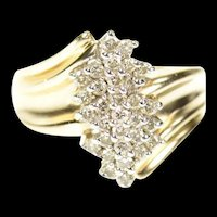 14K Marquise Diamond Cluster Statement Bypass Ring Size 6 Yellow Gold [CXXP]