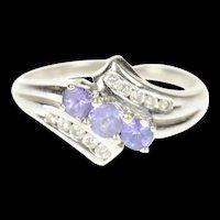 14K Three Stone Tanzanite Diamond Bypass Ring Size 9 White Gold [CXXP]