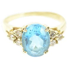14K Oval Blue Topaz Diamond Cluster Cocktail Ring Size 7 Yellow Gold [CXXP]