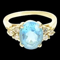 14K Oval Blue Topaz Diamond Cluster Cocktail Ring Size 7 Yellow Gold [CXQC]