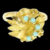 14K Retro 1940's Turquoise Ornate Leaf Cocktail Ring Size 7.75 Yellow Gold [CXQC]
