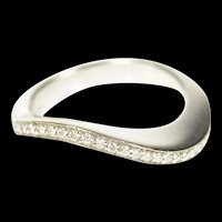 14K Wavy Diamond Inset Curvy Statement Band Ring Size 6 White Gold [CXXP]