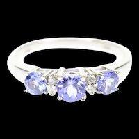 14K Three Stone Tanzanite Diamond Engagement Ring Size 9 White Gold [CXXP]