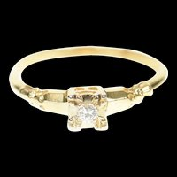 14K 1950's Classic Diamond Promise Engagement Ring Size 6 Yellow Gold [CXQC]