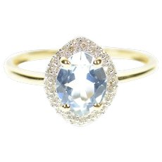 14K Oval Blue Topaz Pave Diamond Halo Cocktail Ring Size 10.25 Yellow Gold [CXQC]