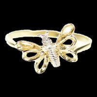 10K Diamond Inset Butterfly Change Symbol Accent Ring Size 6 Yellow Gold [CXXP]