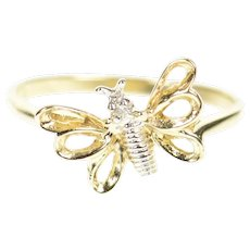 10K Diamond Inset Butterfly Change Symbol Accent Ring Size 6 Yellow Gold [CXQQ]