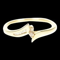 14K Diamond Wavy Bypass Simple Promise Ring Size 6 Yellow Gold [CXXP]