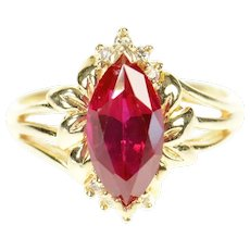 14K Syn. Ruby Diamond Accent Ornate Leaf Motif Ring Size 5.5 Yellow Gold [CXQQ]