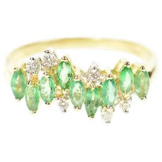 14K Wavy Marquise Syn. Emerald Diamond Band Ring Size 7.75 Yellow Gold [CXQQ]