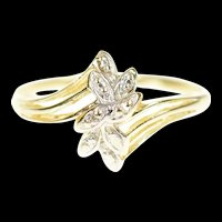 10K Diamond Inset Petal Cluster Bypass Ring Size 7 Yellow Gold [CXXP]